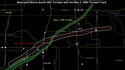 A comparison of the Preliminary Tornado Track for the May 20, 2013 Newcastle-Moore-South Oklahoma City Tornado with the May 3, 1999 Tornado Track. (National Weather Service)