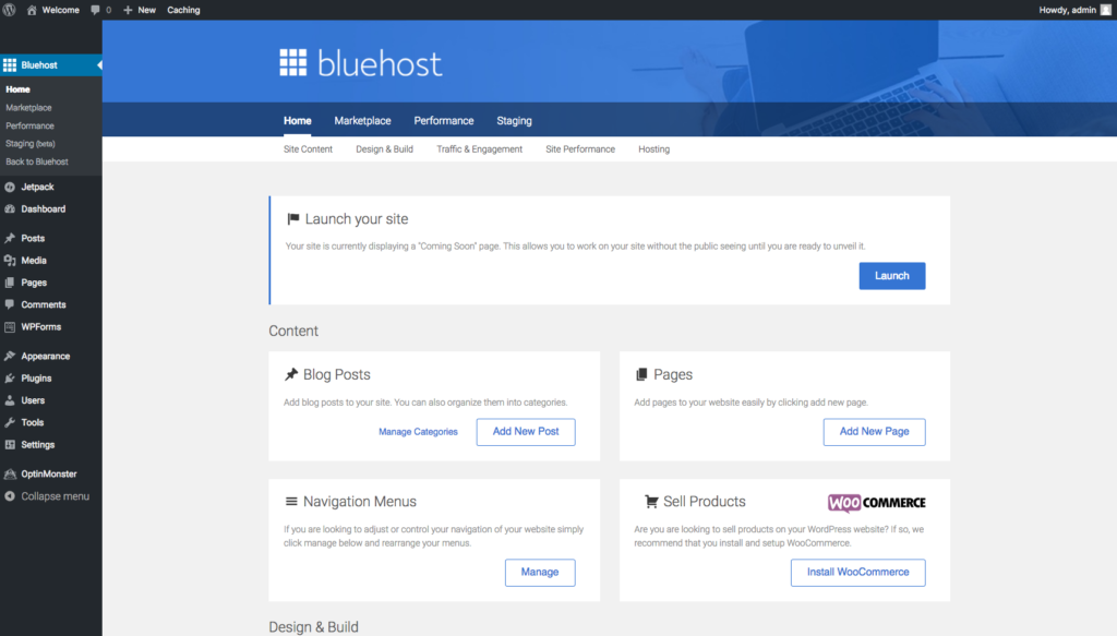login in page bluehost